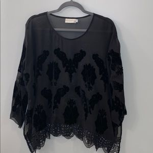 Johnny Was / 4 Love & Liberty Black Silk Lace Top